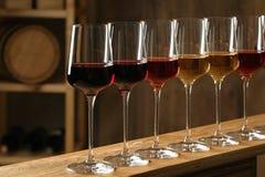 Exponeringsglas av olika viner i k?llare arkivbilder