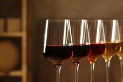 Exponeringsglas av olika viner i k?llare Dyr samling fotografering för bildbyråer