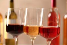 Exponeringsglas av olika viner mot suddig bakgrund royaltyfria bilder