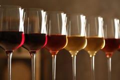 Exponeringsglas av olika viner mot suddig bakgrund Dyr samling royaltyfria bilder