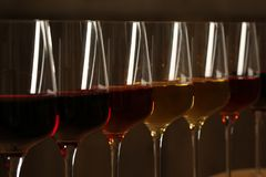 Exponeringsglas av olika viner mot suddig bakgrund Dyr samling royaltyfri bild
