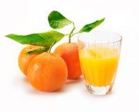 Exponeringsglas av orange fruktsaft med 3 apelsiner och blad Royaltyfri Bild