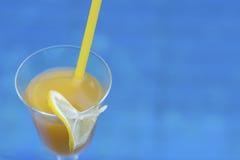 Exponeringsglas av orange fruktsaft med en skiva av citronen och ett sugrör pöl Arkivbild