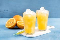 Exponeringsglas av orange fruktsaft med iskuber på träbräde Royaltyfri Bild