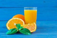 Exponeringsglas av orange fruktsaft Fotografering för Bildbyråer
