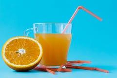 Exponeringsglas av orange fruktsaft och nya apelsiner Royaltyfri Bild