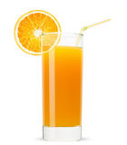 Exponeringsglas av orange fruktsaft som isoleras på vit bakgrund Arkivfoton