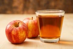 Exponeringsglas av äppelmust Royaltyfria Bilder