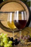 Exponeringsglas av röd vit Wine Arkivbilder
