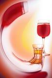 Exponeringsglas av rött vin Arkivfoto