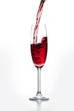 Exponeringsglas av rött vin Arkivbilder