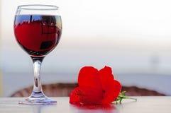 Exponeringsglas av rött vin med en blomma royaltyfri bild
