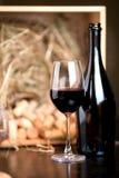 Exponeringsglas av rött vin med en mörk flaska Royaltyfri Foto
