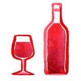 Exponeringsglas av rött vin och en flaska Arkivfoton