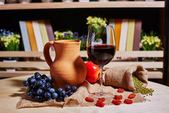 Exponeringsglas av rött vin och tillbringaren royaltyfri bild