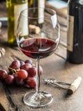 Exponeringsglas av rött vin på tabellen Vinflaska och druvor på lodisarna arkivbild