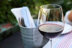 Exponeringsglas av rött vin utomhus Royaltyfria Bilder