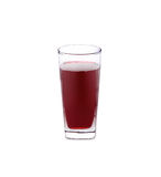 Exponeringsglas av Roselle fruktsaft på vit Arkivfoto