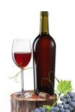 Exponeringsglas av rött vin, flaskan och druvan på stubben som isoleras på vit Arkivbild