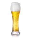 Exponeringsglas av skummande ljust öl med bubblor på vit bakgrund Royaltyfria Bilder