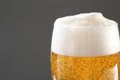 Exponeringsglas av smakligt öl med skum royaltyfri foto