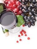 Exponeringsglas av svart vin och druvor Royaltyfri Bild