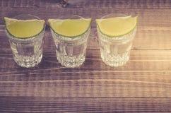 Exponeringsglas av tequila med en limefrukt/exponeringsglas av tequila med en limefruktställning i rad kopiera avst?nd Top besk?d arkivbild
