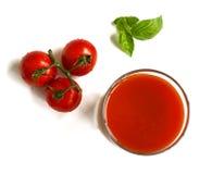Exponeringsglas av tomatfruktsaft från över Royaltyfria Foton