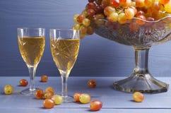 Exponeringsglas av ungt vin med druvor Royaltyfri Bild