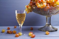 Exponeringsglas av ungt vin med druvor Royaltyfri Fotografi