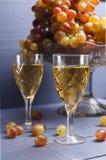 Exponeringsglas av ungt vin med druvor Arkivfoton