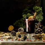 Exponeringsglas av varmt funderat vin för det nya året med ingredienser för att laga mat, muttrar och julpynt Arkivfoton