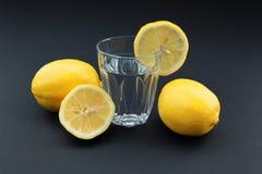 Exponeringsglas av vatten med citronen som omges av citroner Fotografering för Bildbyråer