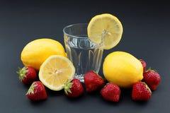 Exponeringsglas av vatten med citronen som omges av citroner och jordgubbar Arkivbild