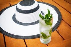 Exponeringsglas av vatten och sommarhatten Selektiv fokus på exponeringsglas Royaltyfri Foto