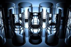 Exponeringsglas av vatten på den mörka bakgrunden Arkivbilder