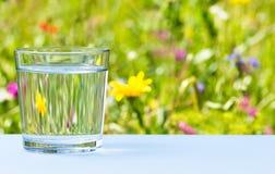 Exponeringsglas av vatten på gräs- ängbakgrund Arkivfoto