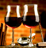 Exponeringsglas av vin Arkivbild