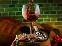 Exponeringsglas av vin Royaltyfri Bild