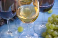 Exponeringsglas av vin, druvatappningkort på en blå träbakgrund arkivbild