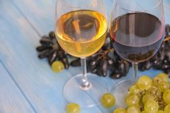 Exponeringsglas av vin, druvor på en blå bakgrund arkivfoton