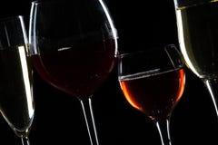 Exponeringsglas av vin i mörker royaltyfri bild