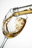 Exponeringsglas av vin med färgstänk Fotografering för Bildbyråer
