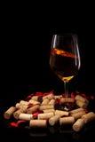 Exponeringsglas av vin och korkar Fotografering för Bildbyråer