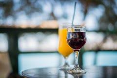 Exponeringsglas av vin och orange fruktsaft Royaltyfri Foto