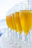 Exponeringsglas av vin på tabellen Royaltyfri Bild