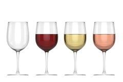 Exponeringsglas av vin - uppsättning Arkivbild
