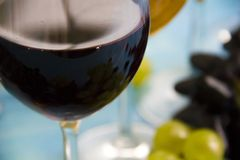 Exponeringsglas av vinmerloten, kort för tappning för idérik meny för beröm för druvaaptitretaretappning naturligt på en blå träb arkivbilder