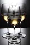 Exponeringsglas av vit wine Arkivfoto