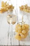 Exponeringsglas av vit wine Arkivbild